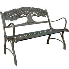 Tree Cast Iron Garden Bench | Painted Sky | PSPB-TRE-100BR