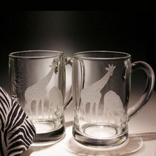 Giraffe Crystal Beer Mug Set of 2 | Evergreen Crystal | EC278G