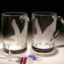 Eagle Crystal Beer Mug Set of 2 | Evergreen Crystal | EC282E