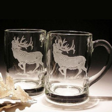Elk Crystal Beer Mug Set of 2 | Evergreen Crystal | EC283E