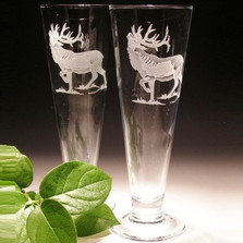 Elk Crystal Pilsner Glass Set of 2 | Evergreen Crystal | EC292E