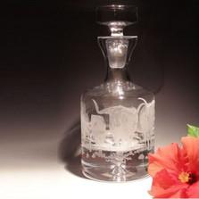 Longhorn Steer Stampede Crystal Decanter   Evergreen Crystal   EC607-WS26