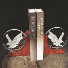Eagle Crystal Bookends | Evergreen Crystal | EC75