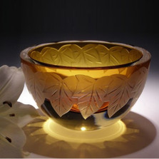 Autumn Leaves Amber Crystal Bowl | Evergreen Crystal | ECautumnbl