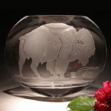 Buffalo Oval Crystal Vase   Evergreen Crystal   ECBUF242