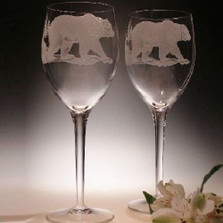 Grizzly Bear 13 oz Crystal Wine Glass Set of 2 | Evergreen Crystal | ECGBWG