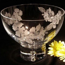 Hibiscus Pedestal Crystal Bowl | Evergreen Crystal | EChibiscus