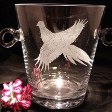 Pheasant Crystal Ice Bucket | Evergreen Crystal | ECI038