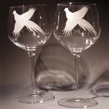 Pheasant Crystal 18 oz Wine Glass Set of 2 | Evergreen Crystal | eci115b