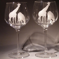 Giraffe Crystal 18 oz Wine Glass Set of 2 | Evergreen Crystal | ECI115D