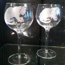 Leopard Crystal 18 oz Wine Glass Set of 2 | Evergreen Crystal | eci115f