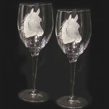 Horse Head Crystal 13 oz Wine Glass Set of 2 | Evergreen Crystal | ECI116H