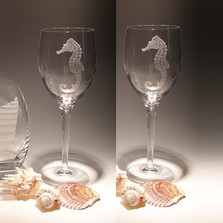 Seahorse Crystal 10 oz Wine Glass Set of 2 | Evergreen Crystal | ECI116SH