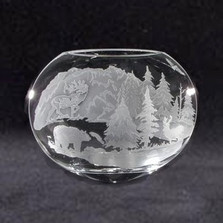 Bear Elk Crystal Neo Oval Vase | Evergreen Crystal | ECIP9290054 -2
