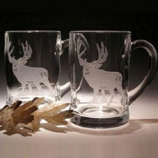Mule Deer Crystal Beer Mug Set of 2 | Evergreen Crystal | ECMDBM