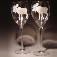 Moose 11 oz Crystal Wine Glass Set of 2 | Evergreen Crystal | ECMWG