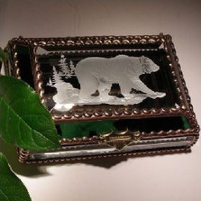 Grizzly Bear Stained Glass Jewelry Box | Evergreen Crystal | ECNA07-520