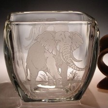 Elephant Crystal Votive Candle Holder | Evergreen Crystal | ECP929