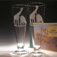 Giraffe Crystal Pilsner Glass Set of 2 | Evergreen Crystal | ECPG