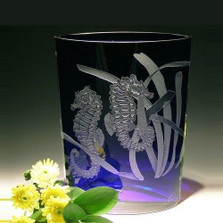 Seahorse Wedge Crystal Vase   Evergreen Crystal   ECSH109