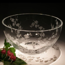 Hummingbird & Dogwood Round Crystal Bowl | Evergreen Crystal | ECTR01-114