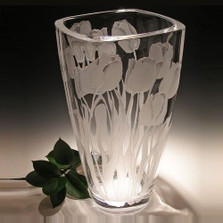 Tulip Squared Crystal Vase | Evergreen Crystal | ECTR05-014