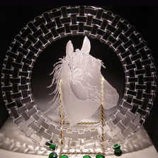 Arabian Horse Charger Crystal Plate | Evergreen Crystal | ECTR06-310