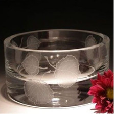 Aspen Leaves Crystal Bowl | Evergreen Crystal | ECTR16-106
