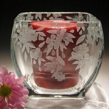 Cherry Blossom Crystal Votive Candleholder | Evergreen Crystal | ECTR38-203