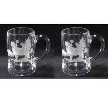 Wolf Etched Crystal Beer Mug Set of 2 | Evergreen Crystal | ECWBM