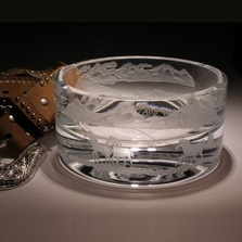 Mountain Horses Small Crystal Bowl | Evergreen Crystal | ECWS-42106