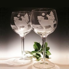 Wolf Etched Crystal 18 oz Wine Glass Set of 2 | Evergreen Crystal | ECWWG