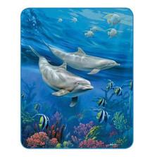 Dolphins Medium Weight Faux-Mink Blanket   DUKDB5269-2