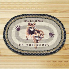Raccoon Welcome Oval Patch Braided Rug | Capitol Earth Rugs | CEROP-116RW