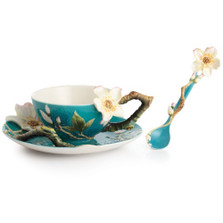 Van Gogh Almond Flower Cup Saucer Spoon | FZ02452 | Franz Porcelain Collection