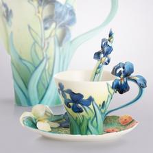 Van Gogh Iris Flower Cup Saucer Spoon   FZ02453   Franz Porcelain Collection