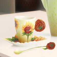 Van Gogh Sunflower Cup Saucer Spoon   FZ02459   Franz Porcelain Collection
