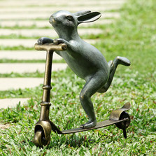 Bunny Scooter Garden Sculpture | 34214 | SPI Home