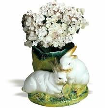 Bunny Pair Ceramic Vase | Intrada Italy | INTHOP9019