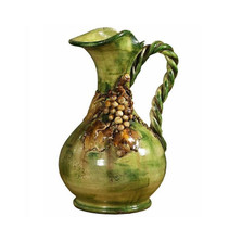 Antique Green with Grapes Ceramic Pitcher | Intrada Italy | INTMAJ8075