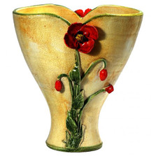 Majolica Yellow Poppy Ceramic Vase | Intrada Italy | INTMAJ8086