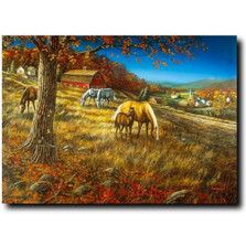 "Horse Print ""Hillside Gathering"" 