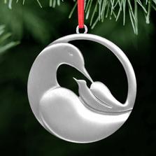 Dove Cradle Polished Pewter Ornament   Lovell Designs   LOVor135