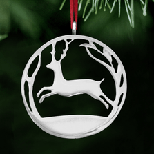 Leaping Stag Polished Pewter Ornament | Lovell Designs | LOVor156