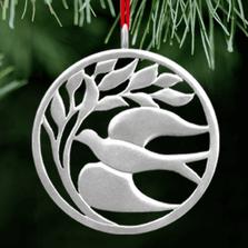Elusive Dove Polished Pewter Ornament | Lovell Designs | LOVor175