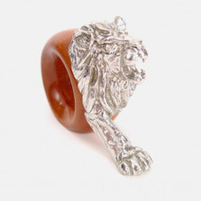 Lion Wood and Pewter Napkin Ring | Mbare | MBSERW0018