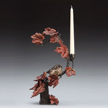 Autumn's Return Bird with Flowers Bronze Candelabra | Mark Hopkins | MHS72012