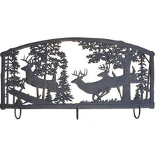 Deer Metal Wall Art Coat Rack | Painted Sky | PSWHAM-BK