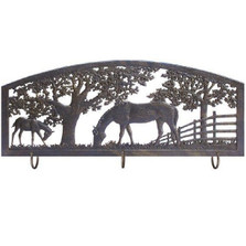 Horse Metal Wall Art Coat Rack | Painted Sky | PSWHAM-HS