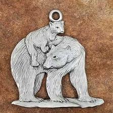 Polar Bear with Cub Pewter Ornament   Andy Schumann   SCHMC122126